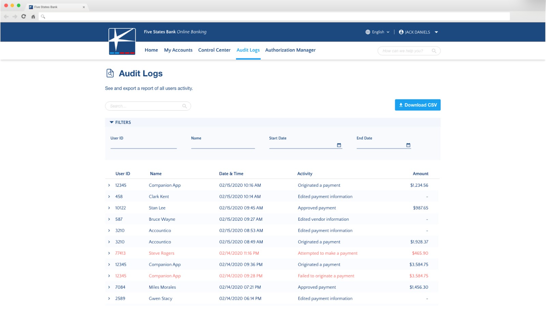 Online banking audit logs